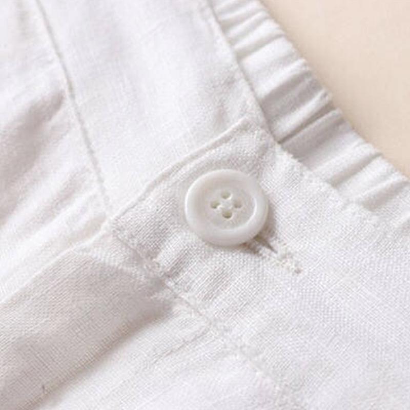 Automne-Nouveau-Coton-Lin-Jambe-Large-Femme-Pantalons-Bouton-Taille-Elastiq-N9Y6 miniature 16