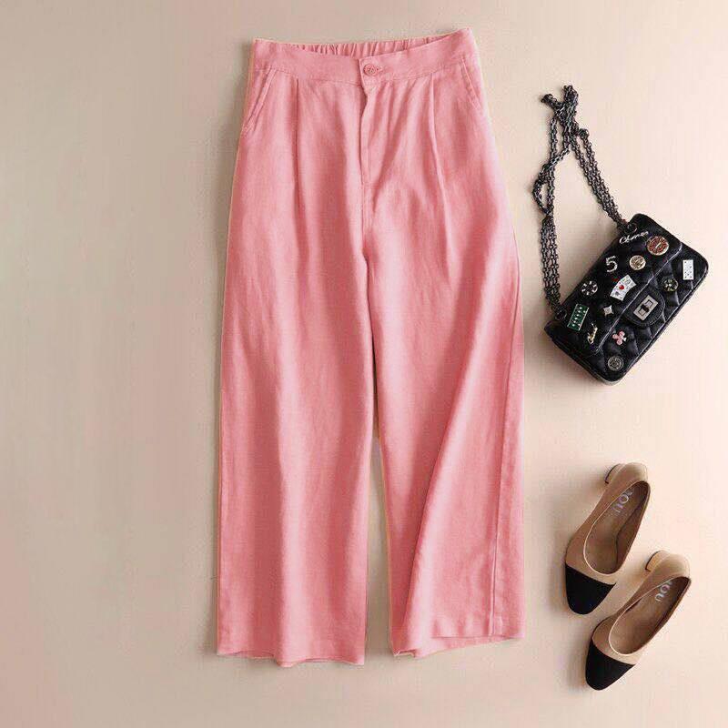 Automne-Nouveau-Coton-Lin-Jambe-Large-Femme-Pantalons-Bouton-Taille-Elastiq-N9Y6 miniature 19