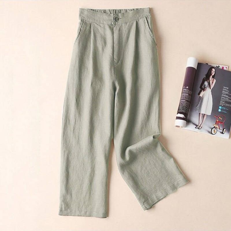 Automne-Nouveau-Coton-Lin-Jambe-Large-Femme-Pantalons-Bouton-Taille-Elastiq-N9Y6 miniature 22