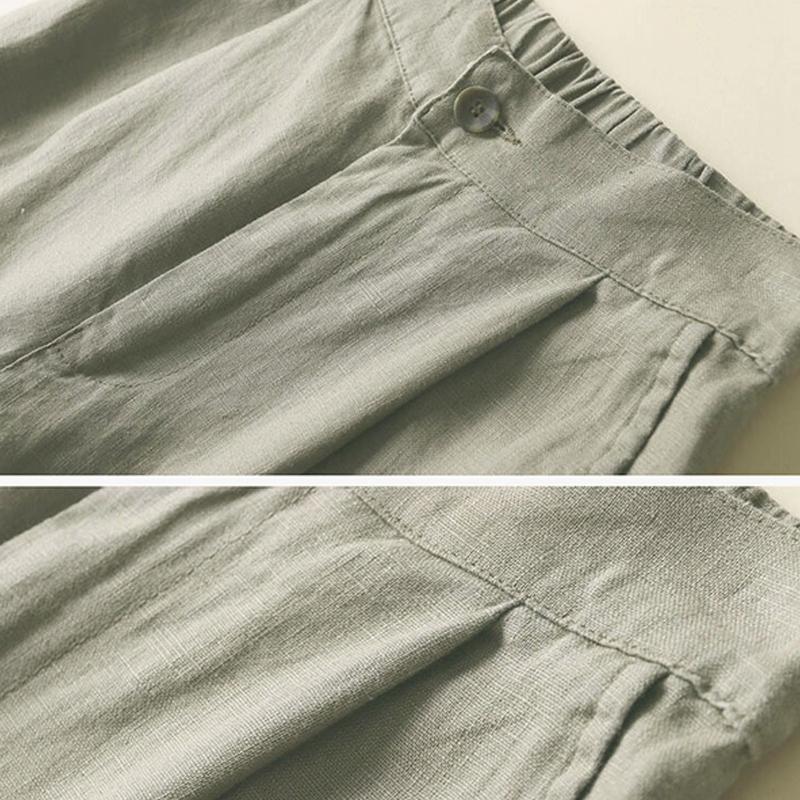 Automne-Nouveau-Coton-Lin-Jambe-Large-Femme-Pantalons-Bouton-Taille-Elastiq-N9Y6 miniature 23