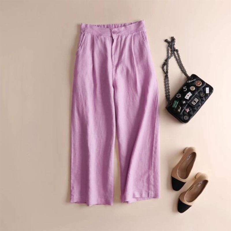 Automne-Nouveau-Coton-Lin-Jambe-Large-Femme-Pantalons-Bouton-Taille-Elastiq-N9Y6 miniature 26