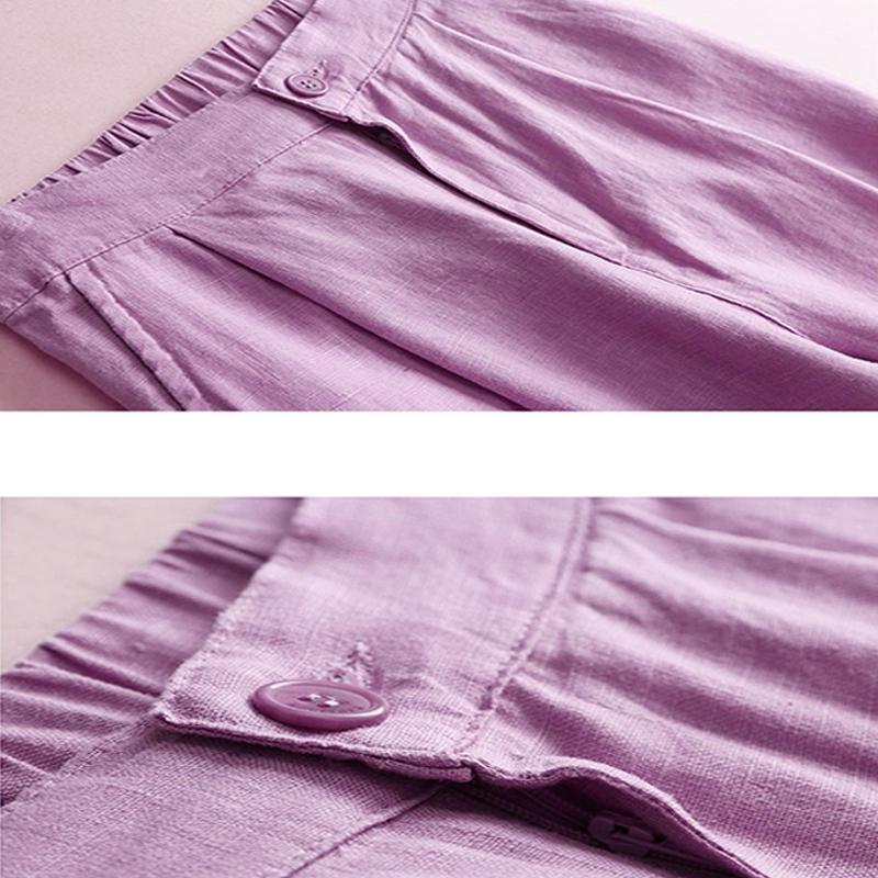 Automne-Nouveau-Coton-Lin-Jambe-Large-Femme-Pantalons-Bouton-Taille-Elastiq-N9Y6 miniature 27