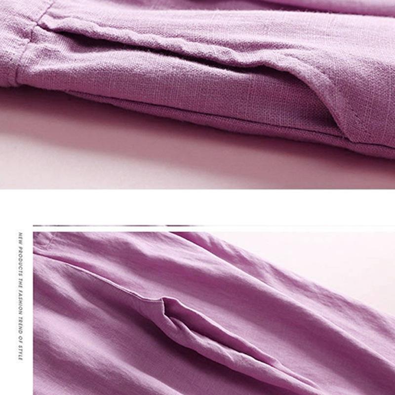 Automne-Nouveau-Coton-Lin-Jambe-Large-Femme-Pantalons-Bouton-Taille-Elastiq-N9Y6 miniature 28
