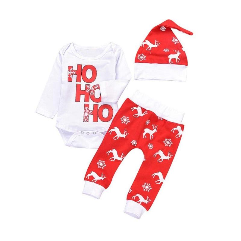 Navidad-Bebe-Corredor-Nina-3-Piezas-Conjunto-de-Letras-Mono-Pantalones-De-I6V2 miniatura 3