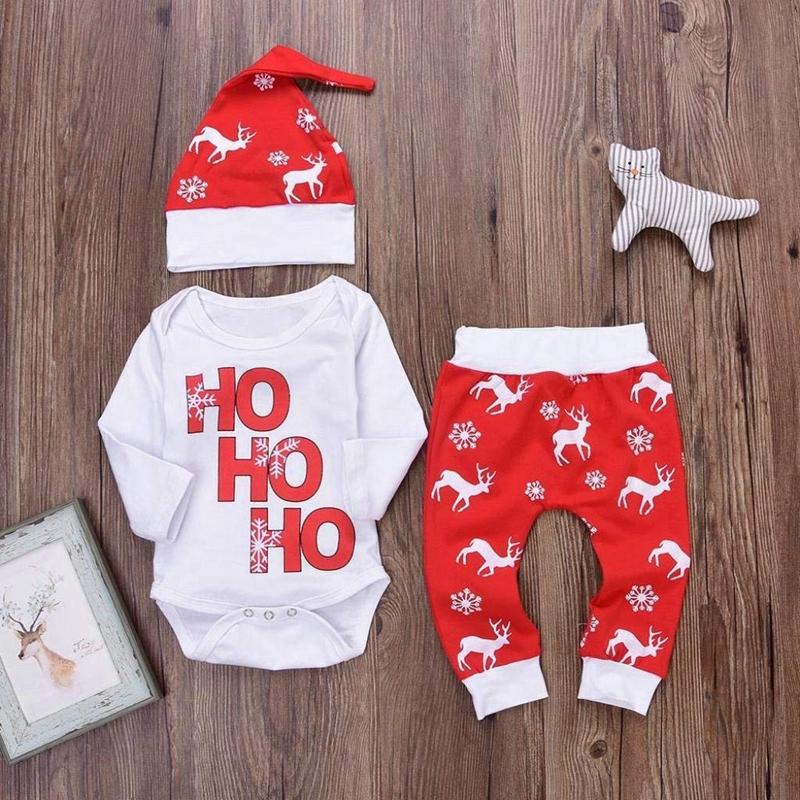 Navidad-Bebe-Corredor-Nina-3-Piezas-Conjunto-de-Letras-Mono-Pantalones-De-I6V2 miniatura 9