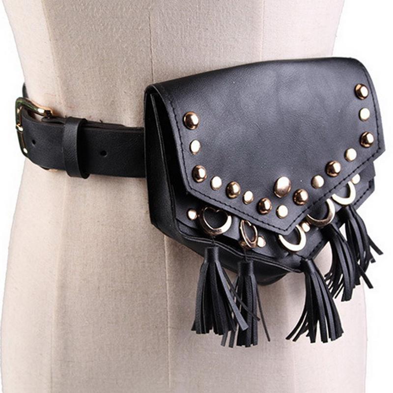 sac a taille punk pour femmes de ceinture rivet femme banane en cuir luxe la mp7 ebay. Black Bedroom Furniture Sets. Home Design Ideas