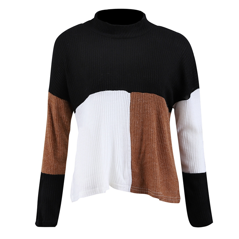 Women Autumn Winter Fashion Colorblock Knitted Sweater Ladies Casual Warm T D1F9
