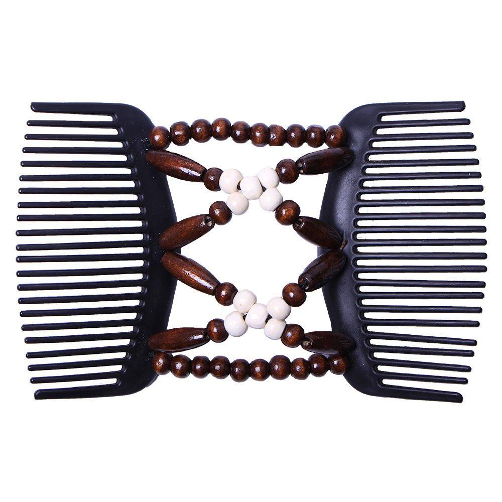 1X Peigne De Cheveux Double Perles En Bois Magique Pince Extensible Pour Femm 2E