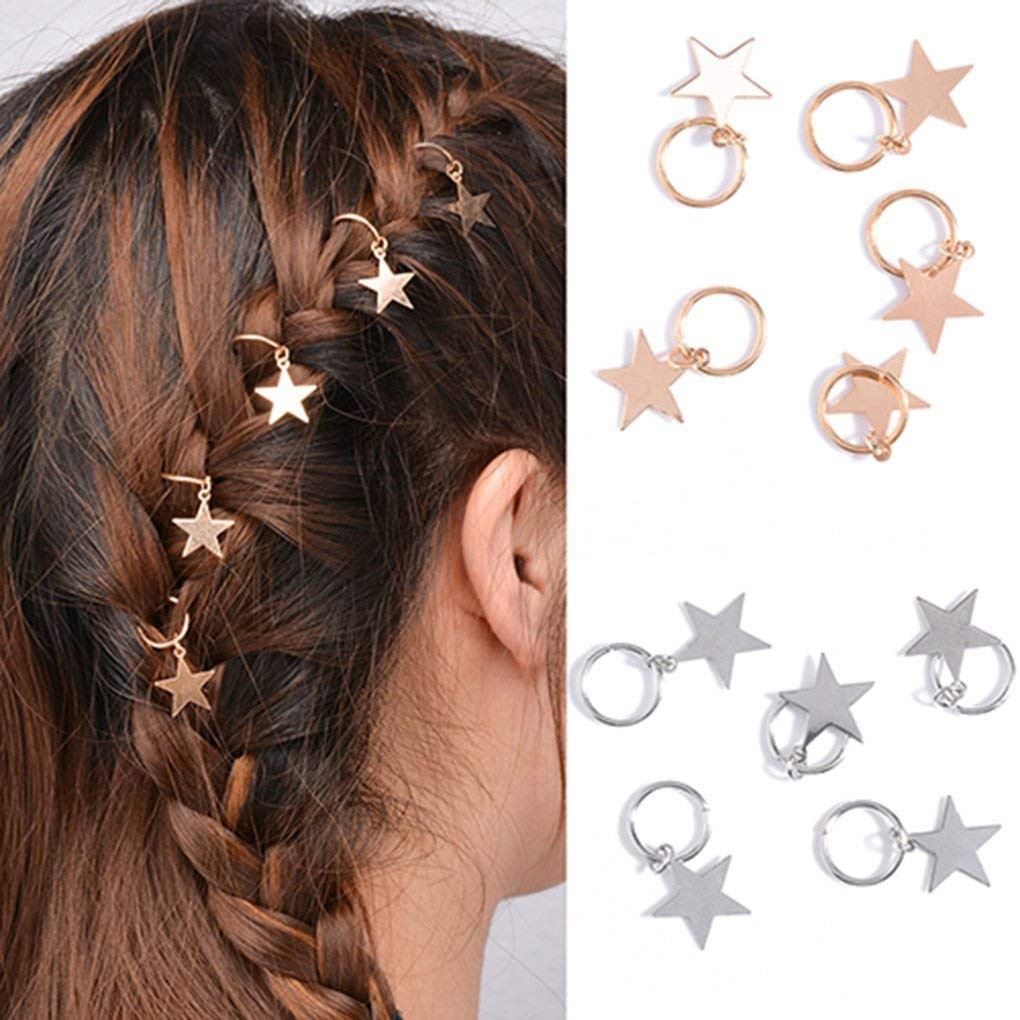10pcs Lady Girls Cute Shiny Silver Gold Star Hair Rings Braids