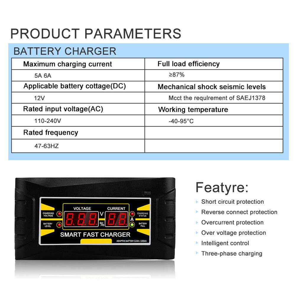 Cargador-De-Bateria-De-Coche-Del-Enchufe-De-La-Ue-12V-6A-10A-Inteligente-Co-P7V6 miniatura 8