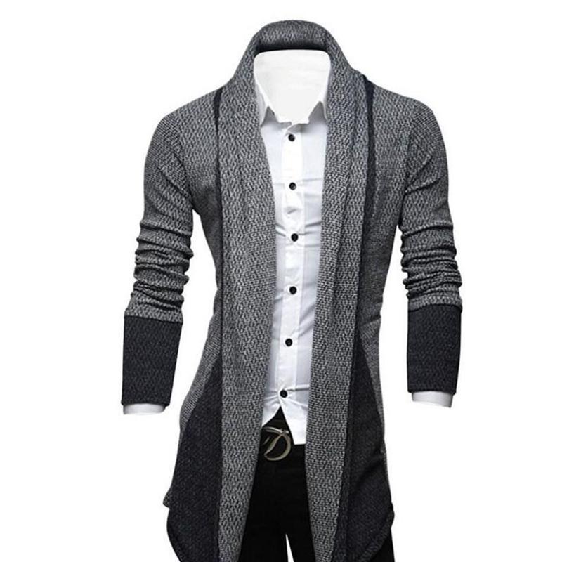 Hombres-Moda-Color-Empalme-Delantero-Abierto-Sueter-de-Punto-Cardigan-Hombr-V2D9 miniatura 4