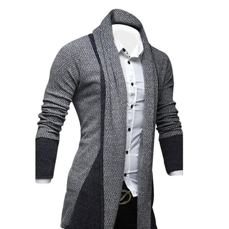 Hombres-Moda-Color-Empalme-Delantero-Abierto-Sueter-de-Punto-Cardigan-Hombr-V2D9 miniatura 5