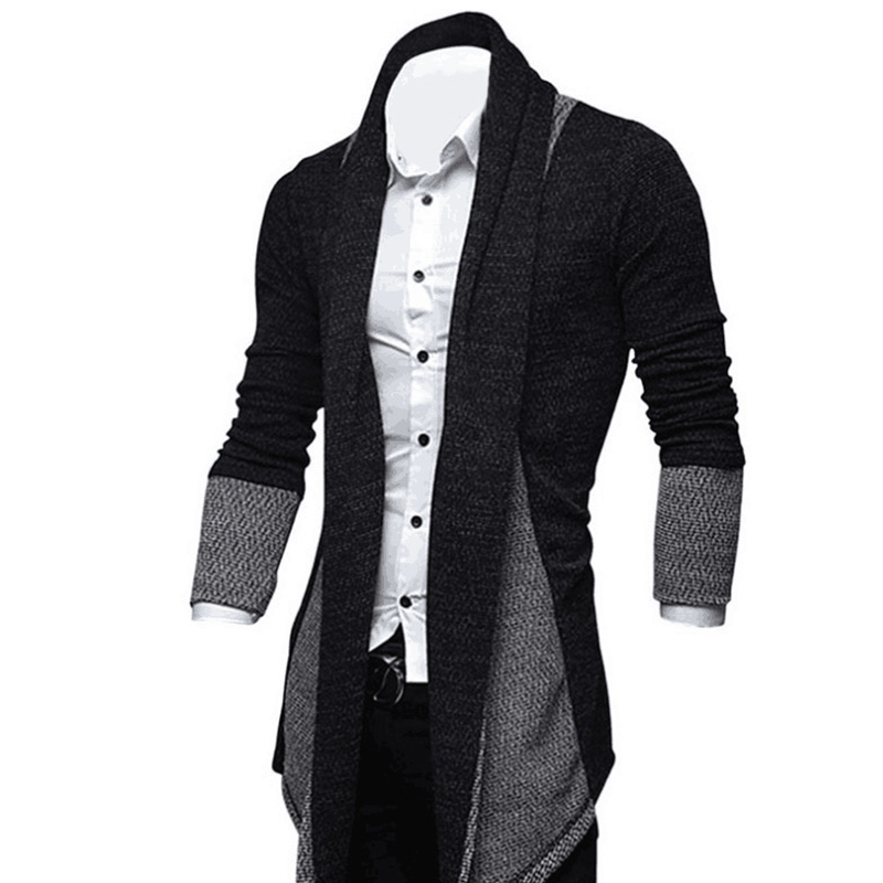 Hombres-Moda-Color-Empalme-Delantero-Abierto-Sueter-de-Punto-Cardigan-Hombr-V2D9 miniatura 15