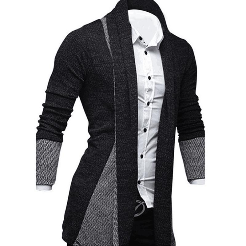 Hombres-Moda-Color-Empalme-Delantero-Abierto-Sueter-de-Punto-Cardigan-Hombr-V2D9 miniatura 16