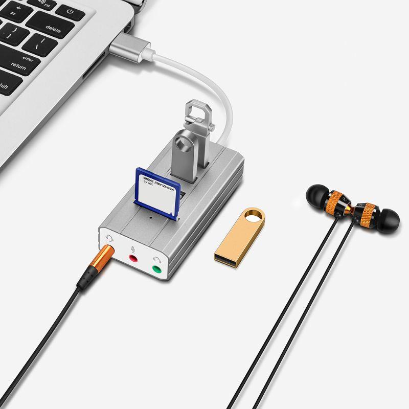 1X-1-Pc-High-Quality-USB-Hub-Type-C-to-3-port-USB-2-0-HUB-with-Sound-Card-TB3V7 thumbnail 6