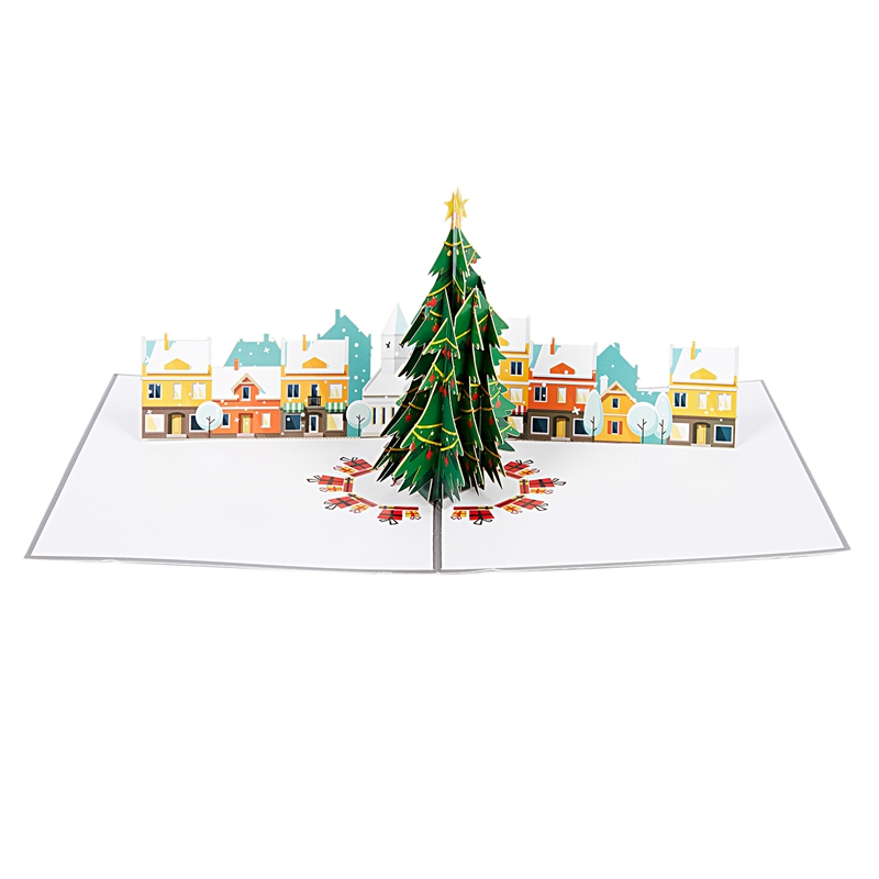 Christmas Tree Village Pop Up Christmas Card, 3D Card, Holiday Card ...