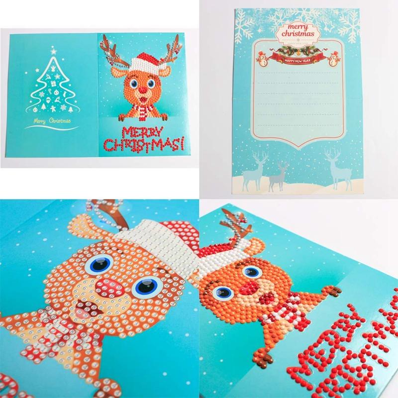 christmas cards 5d diy diamond painting round drill