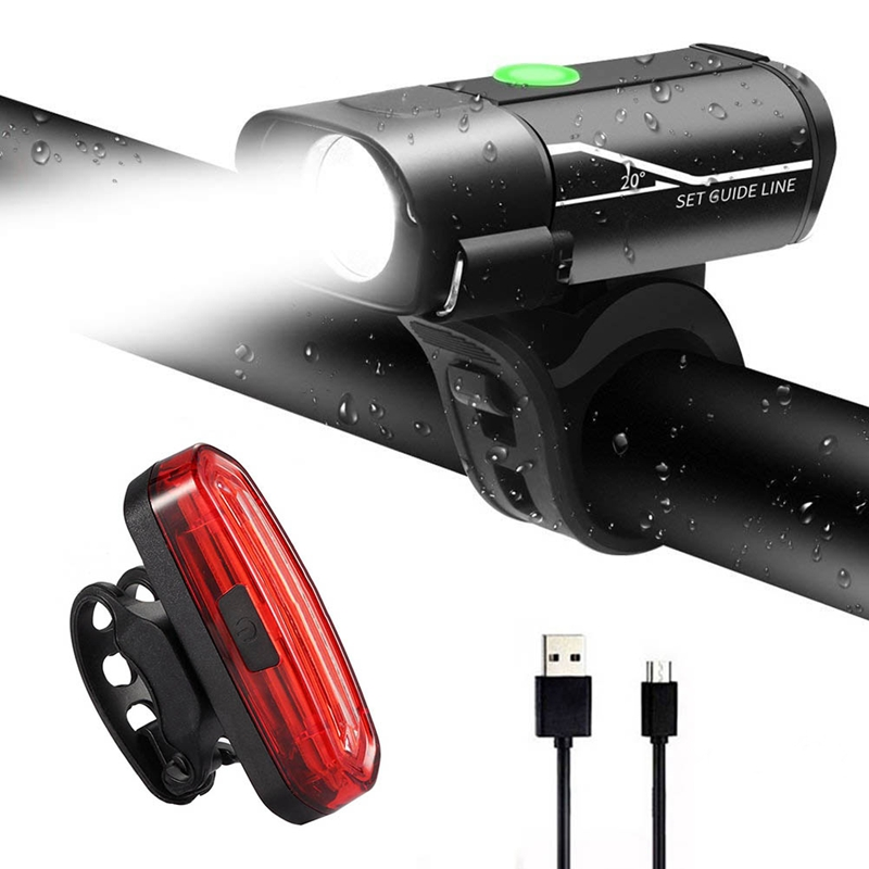 5X(Bike Lights Set USB Rechargeable, Super Bright 350 Lumen Front Bike Light MO