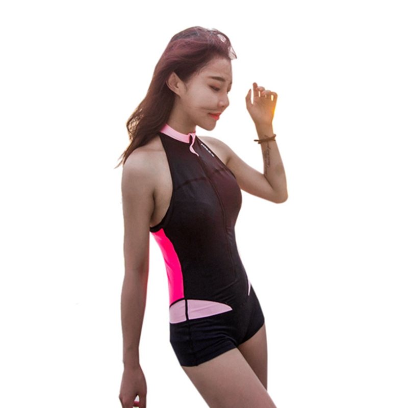 2X(HISEA Women Rash Guard Lycra Light Sleeveless Elastic Swimsuit calico zi M9S6