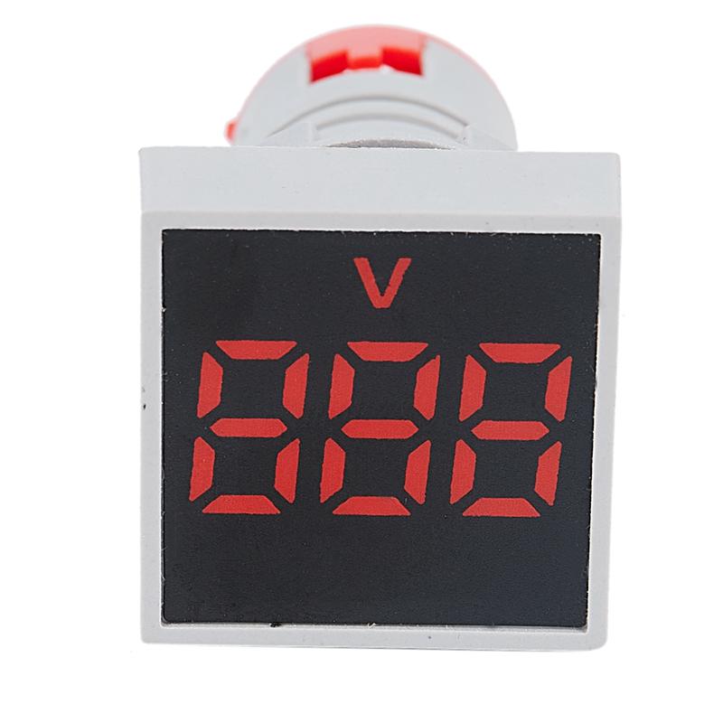 22mm-Ca-12-500V-Voltimetro-Panel-Cuadrado-Led-Medidor-de-Voltaje-Digital-Luz-GNH miniatura 6