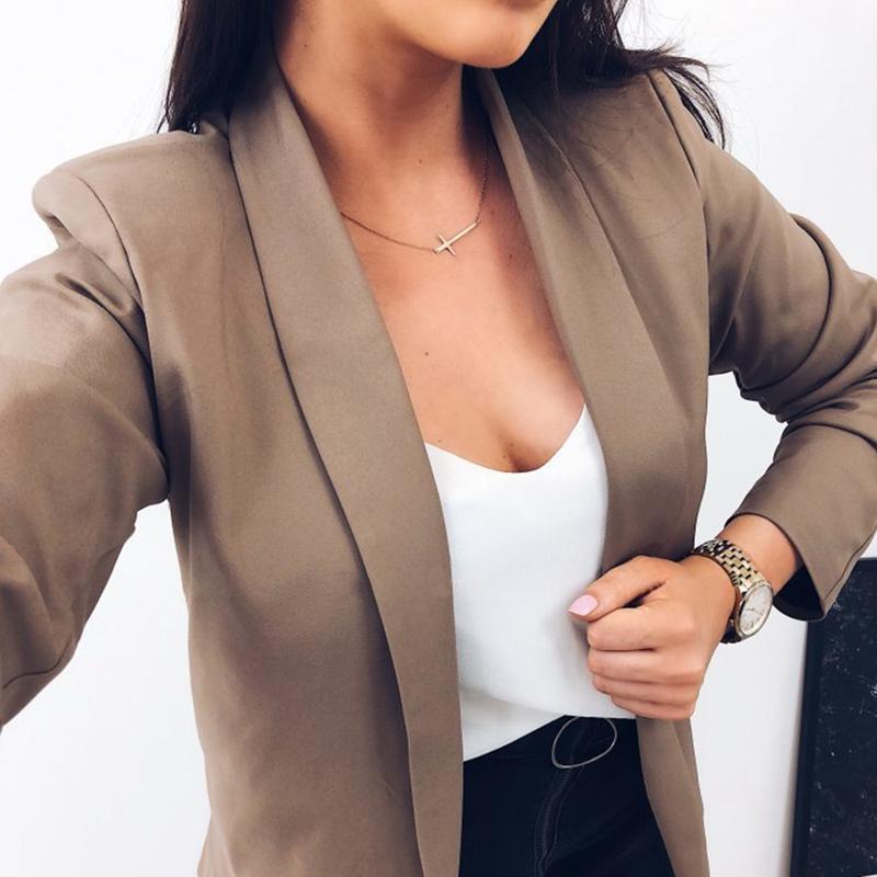 Femmes-Mode-Revers-Manches-Longues-Blazer-Manteaux-Vestes-Dames-Decontracte-L9P9 miniature 14