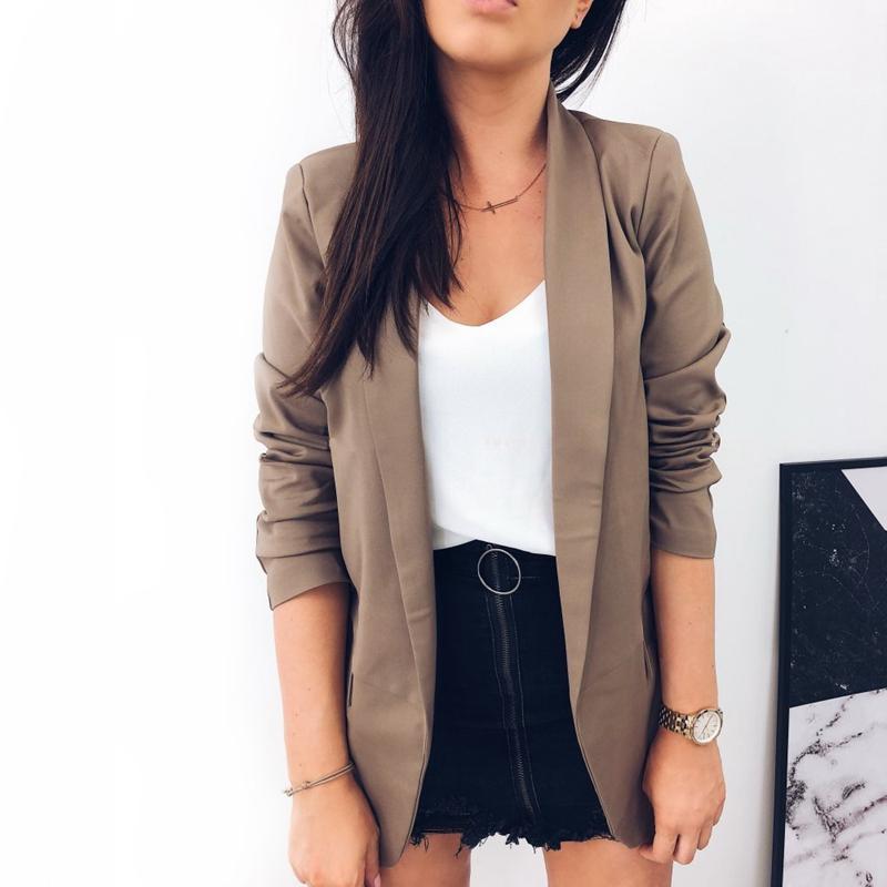 Femmes-Mode-Revers-Manches-Longues-Blazer-Manteaux-Vestes-Dames-Decontracte-L9P9 miniature 15