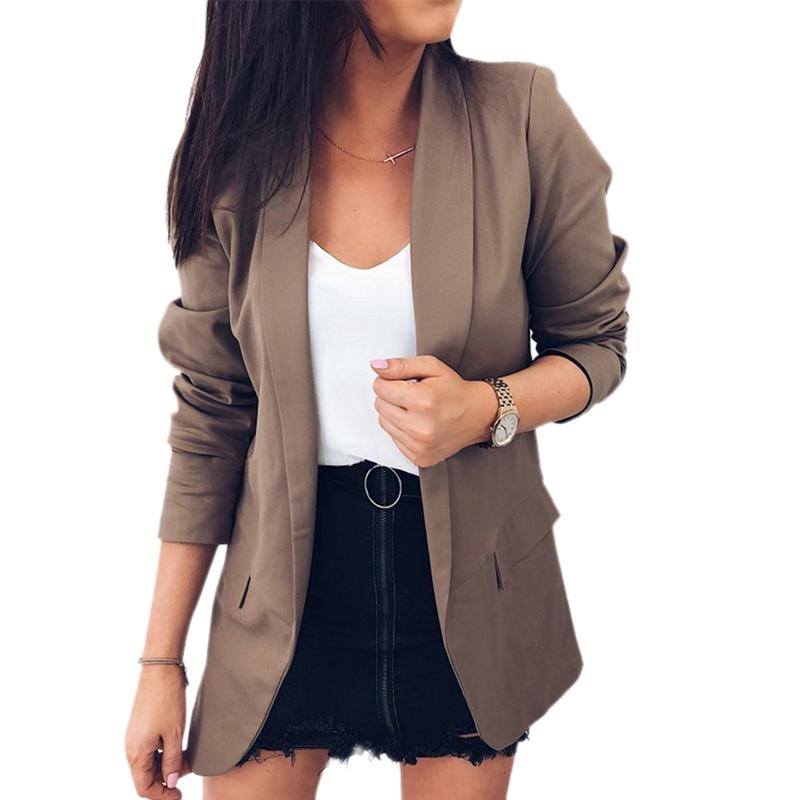 Femmes-Mode-Revers-Manches-Longues-Blazer-Manteaux-Vestes-Dames-Decontracte-L9P9 miniature 12