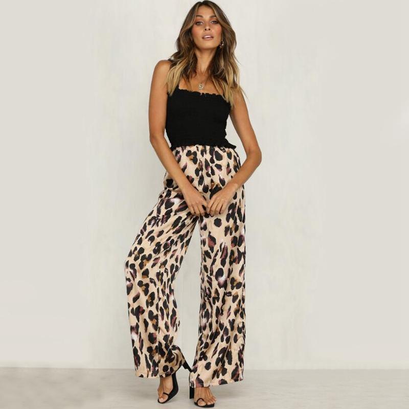 2e58ec2f206d Women Fashion Leopard Print Elastic Waist Wide Leg Pants Ladies ...