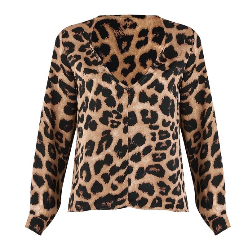 Para-Mujer-Moda-De-Otono-Estampado-De-Leopardo-Blusa-Camiseta-Senoras-Sexy-Y5H6 miniatura 3