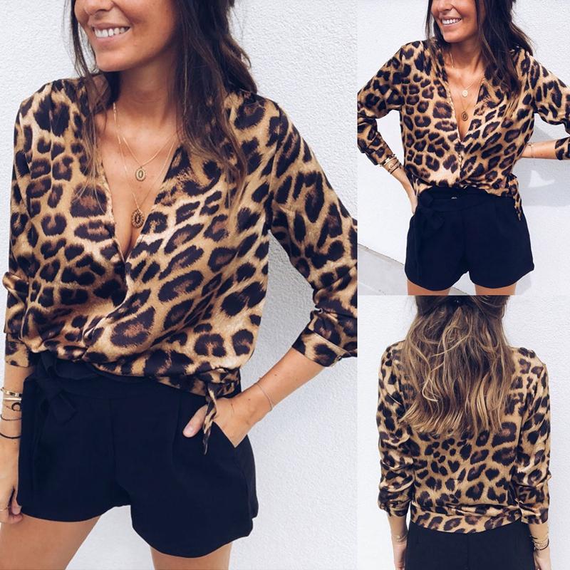 Para-Mujer-Moda-De-Otono-Estampado-De-Leopardo-Blusa-Camiseta-Senoras-Sexy-Y5H6 miniatura 7