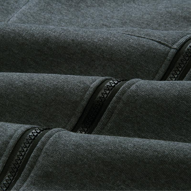 1X-Mode-Feminine-Automne-Hiver-Fermeture-Eclair-Long-Manteau-A-Capuche-Vest-B5P1 miniature 5