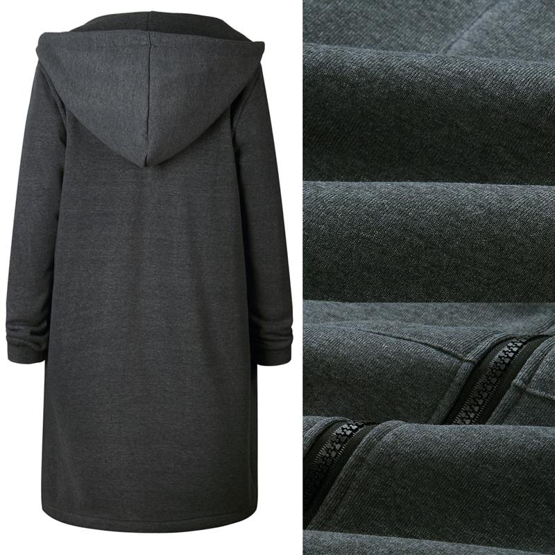 1X-Mode-Feminine-Automne-Hiver-Fermeture-Eclair-Long-Manteau-A-Capuche-Vest-B5P1 miniature 6