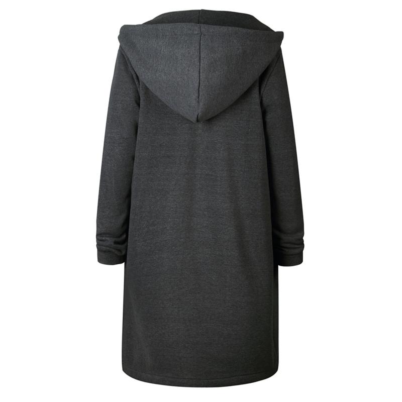 Moda-De-Mujer-Otono-Invierno-Abrigo-Largo-Con-Capucha-Y-Cremallera-Chaqueta-M8H8 miniatura 3