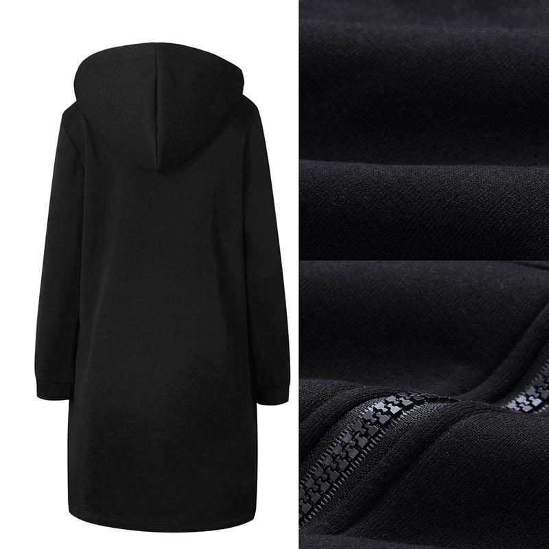 1X-Mode-Feminine-Automne-Hiver-Fermeture-Eclair-Long-Manteau-A-Capuche-Vest-B5P1 miniature 14