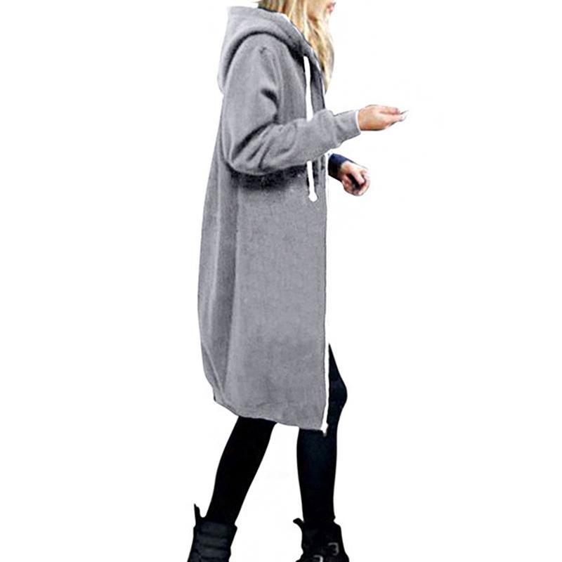 1X-Mode-Feminine-Automne-Hiver-Fermeture-Eclair-Long-Manteau-A-Capuche-Vest-B5P1 miniature 19