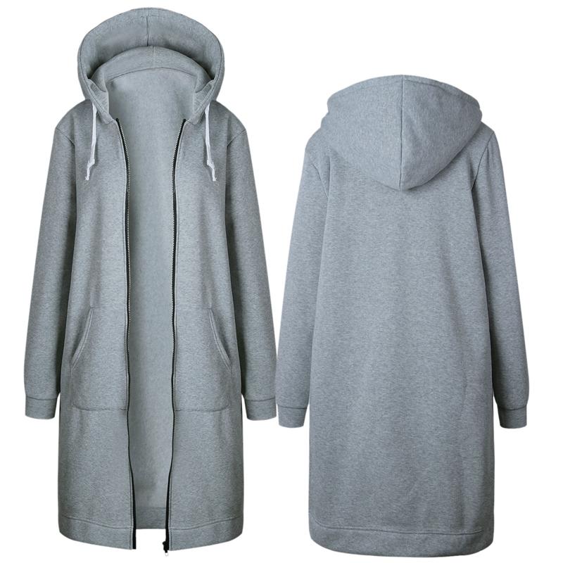 1X-Mode-Feminine-Automne-Hiver-Fermeture-Eclair-Long-Manteau-A-Capuche-Vest-B5P1 miniature 21