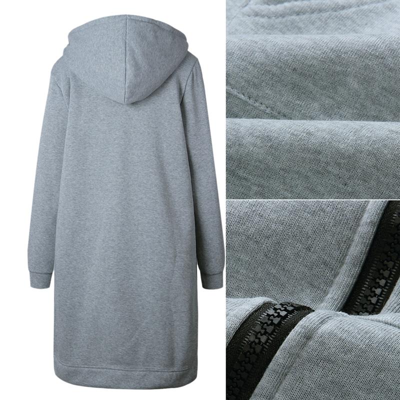 1X-Mode-Feminine-Automne-Hiver-Fermeture-Eclair-Long-Manteau-A-Capuche-Vest-B5P1 miniature 23