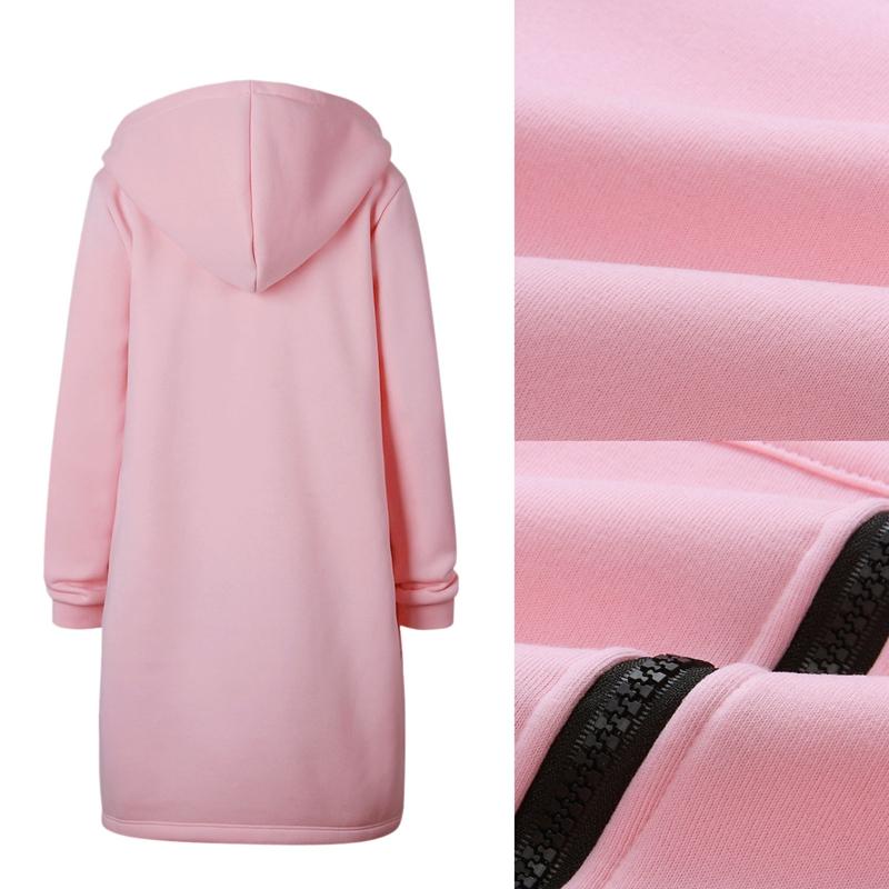 1X-Mode-Feminine-Automne-Hiver-Fermeture-Eclair-Long-Manteau-A-Capuche-Vest-B5P1 miniature 32