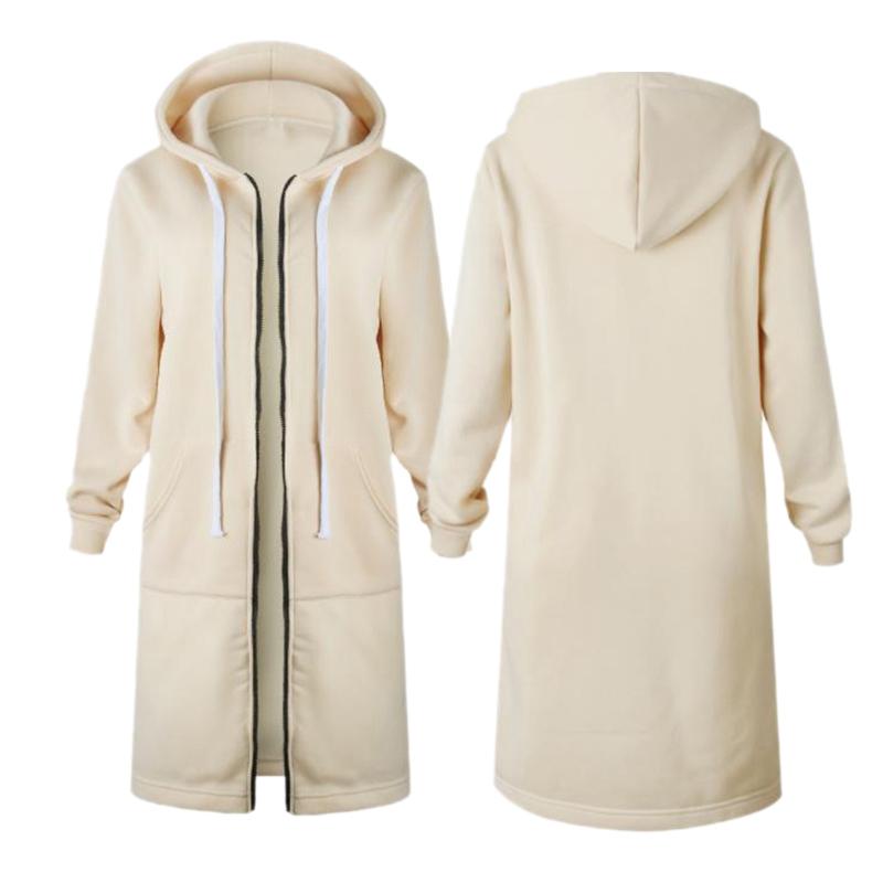 1X-Mode-Feminine-Automne-Hiver-Fermeture-Eclair-Long-Manteau-A-Capuche-Vest-B5P1 miniature 38