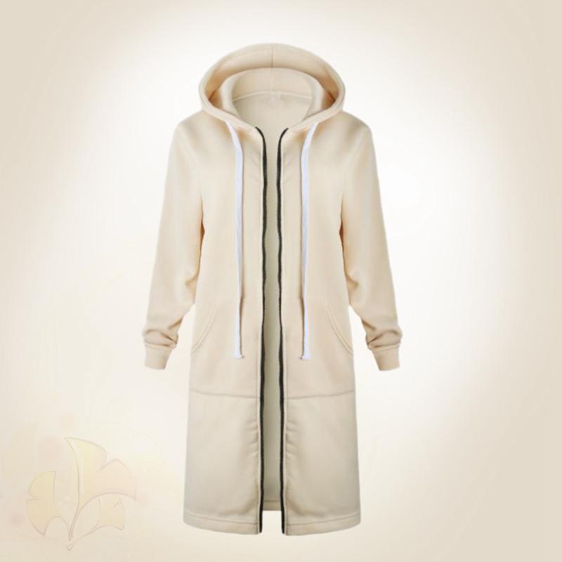 1X-Mode-Feminine-Automne-Hiver-Fermeture-Eclair-Long-Manteau-A-Capuche-Vest-B5P1 miniature 39
