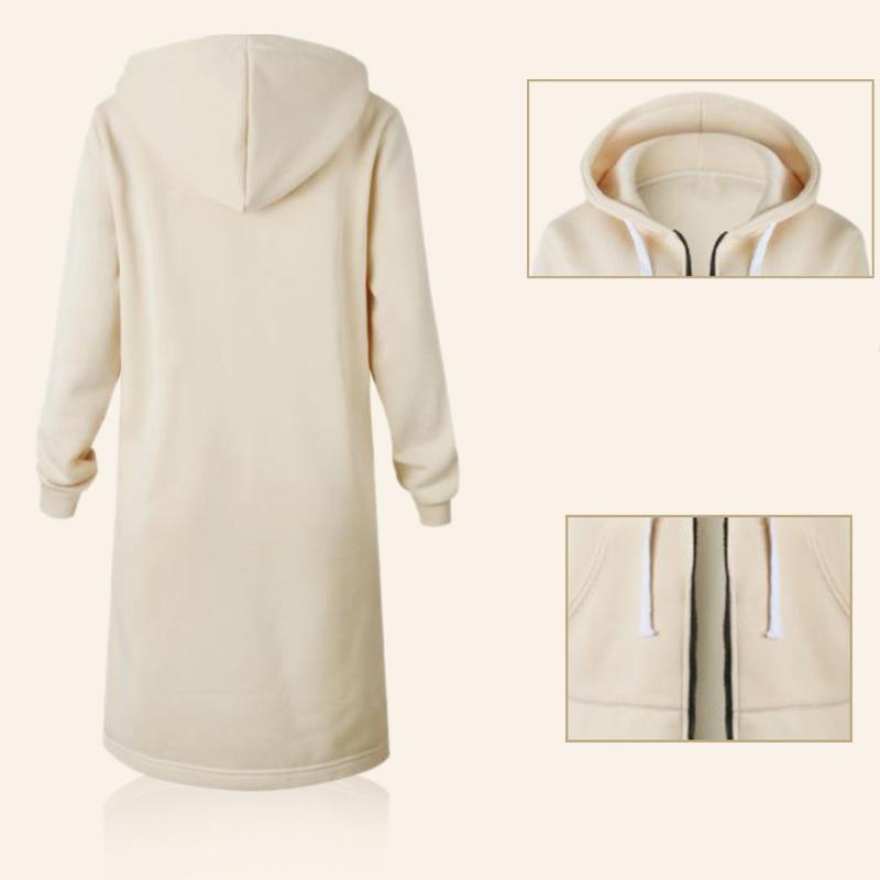 1X-Mode-Feminine-Automne-Hiver-Fermeture-Eclair-Long-Manteau-A-Capuche-Vest-B5P1 miniature 40