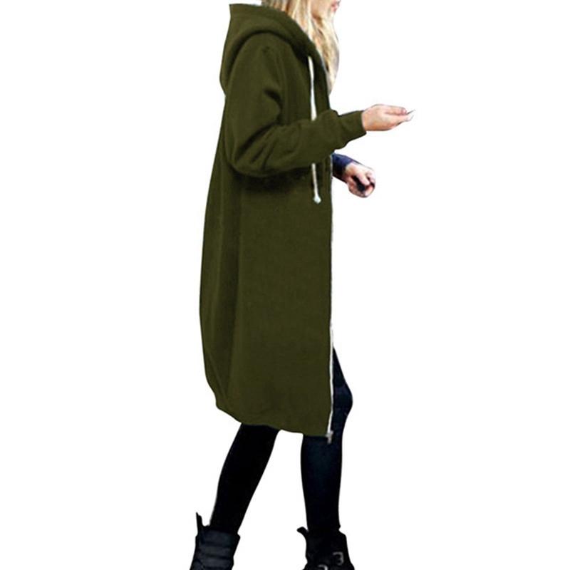 1X-Mode-Feminine-Automne-Hiver-Fermeture-Eclair-Long-Manteau-A-Capuche-Vest-B5P1 miniature 52