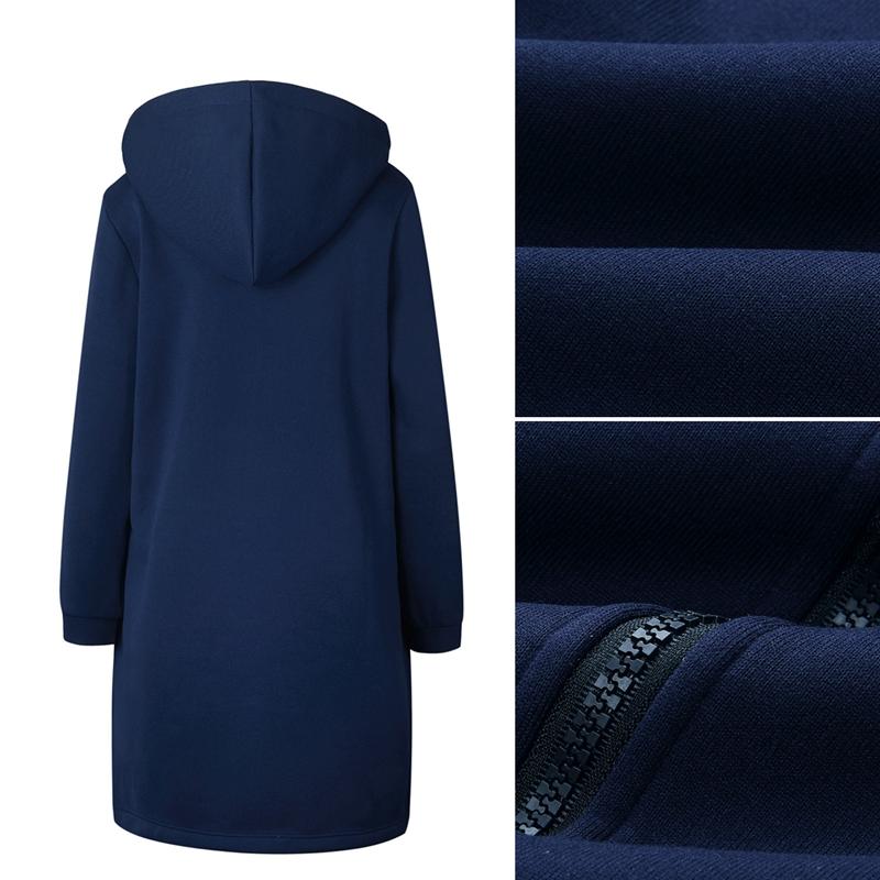 1X-Mode-Feminine-Automne-Hiver-Fermeture-Eclair-Long-Manteau-A-Capuche-Vest-B5P1 miniature 66