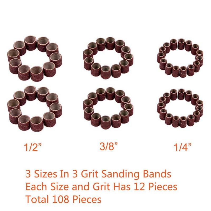 120Pcs-Drum-Sanders-Set-Including-108-Pcs-Sanding-Bands-and-12-Pcs-Drum-Man-P9J6 thumbnail 4