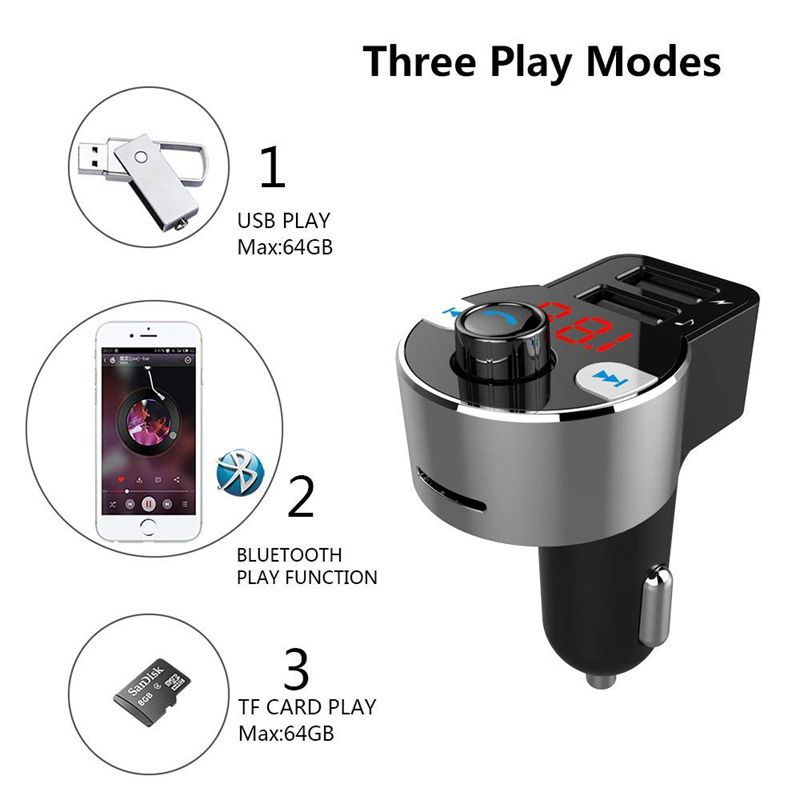 2x fm transmitter bluetooth autoradio adapter. Black Bedroom Furniture Sets. Home Design Ideas