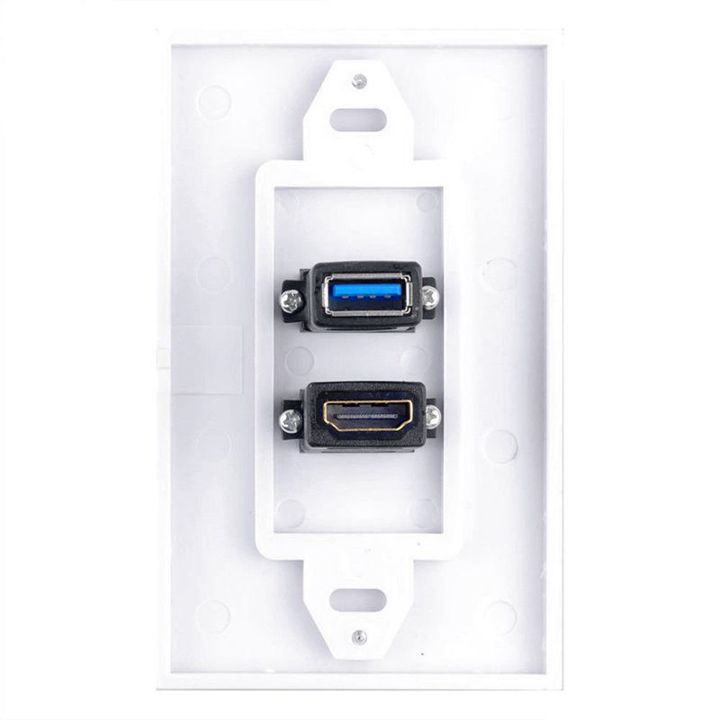 1x 2Port HDMI+USB 3.0 Female Wall Face Plate Panel Outlet