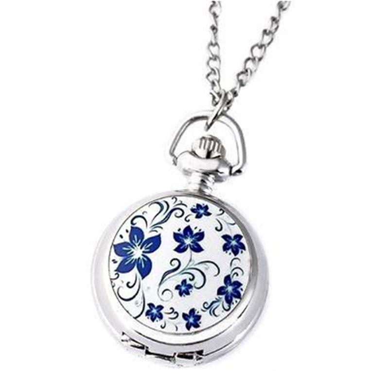 Paar-Modelle-Klassische-Mode-Retro-Quarz-Kleine-Anemone-Blaue-Taschen-Uhr-X3P8