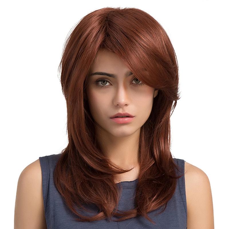 5xmittelteil Lange Lockige Synthetische Perücken Glattes Haar