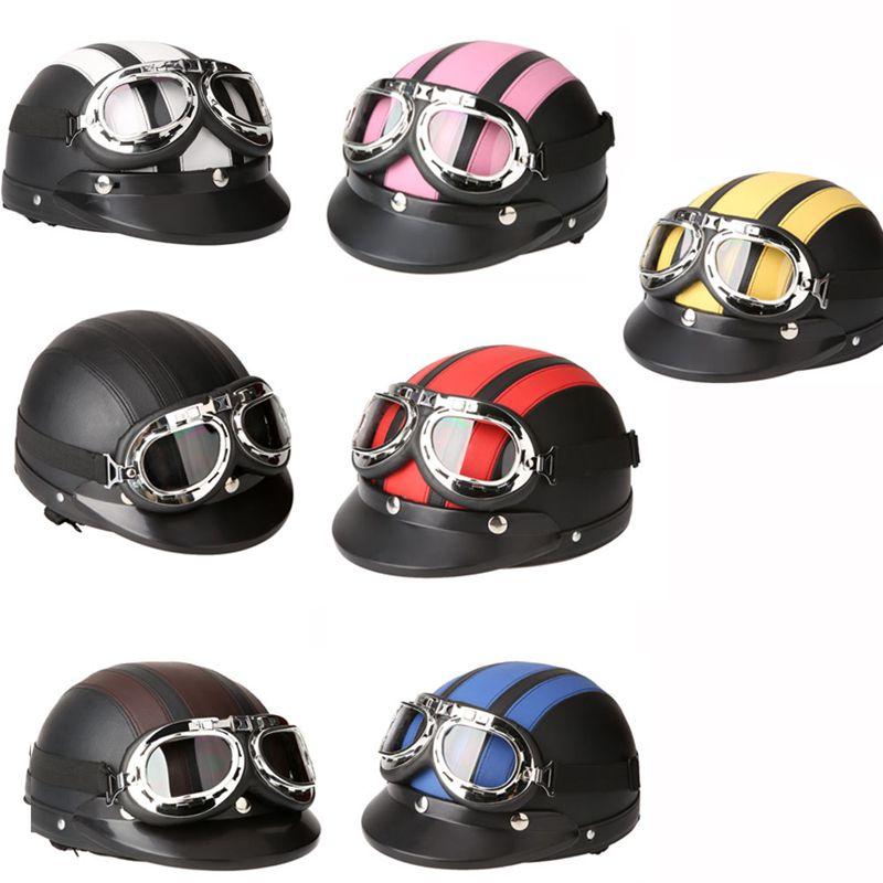 1X-Casque-Moto-Synthetique-ABS-Cuir-Moitie-Casque-Casques-De-Moto-Moto-Cr-Z3L5 miniature 7