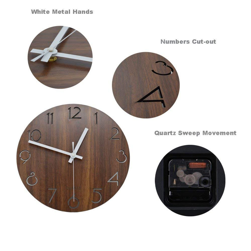 1X(12 inch Vintage Arabic Numeral Design Rustic Country Tuscan Style WoodenP6T9) 5